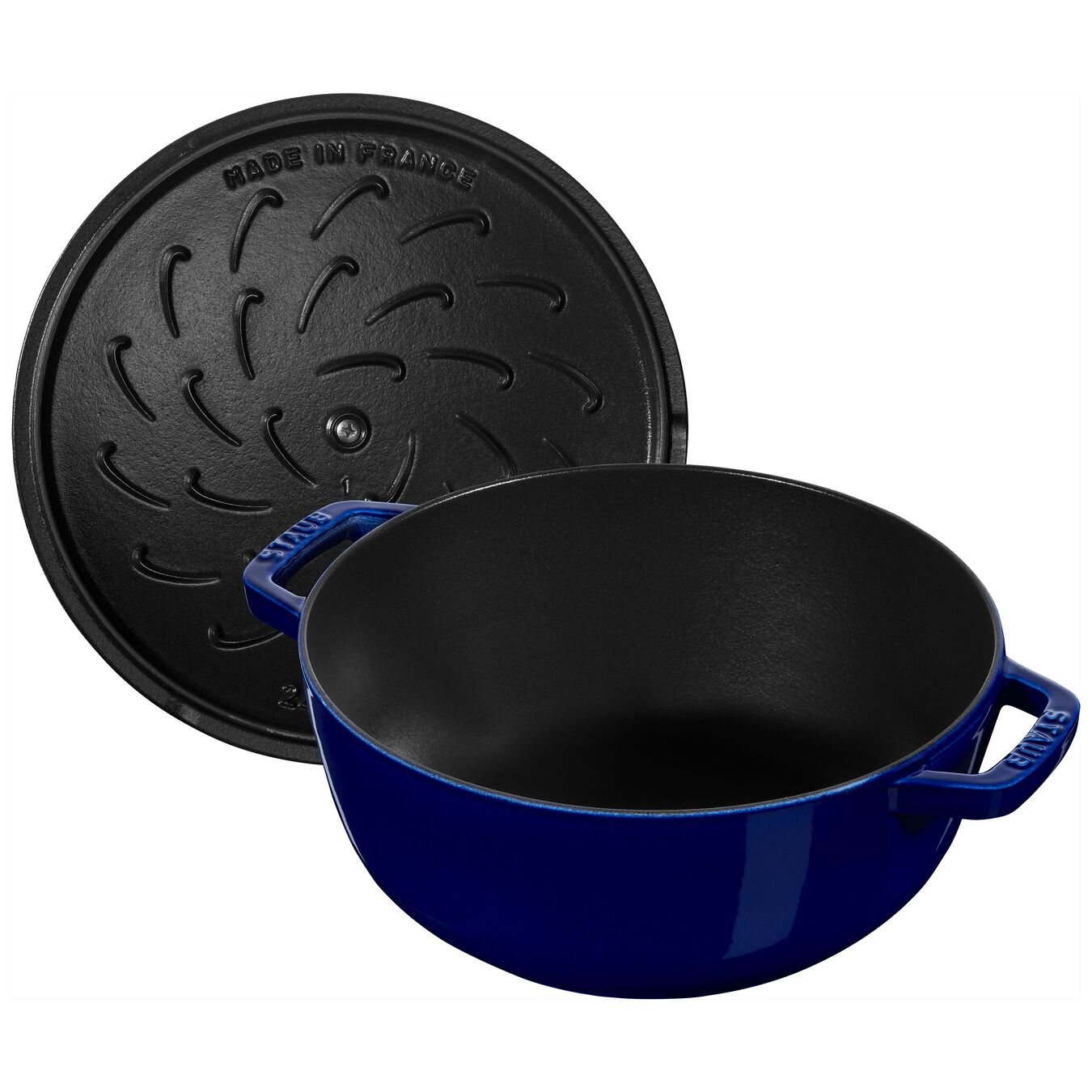 3.5 l Cast iron round French oven, Dark-Blue,,large 5