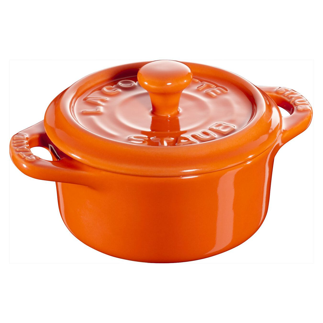 Mini Cocotte 10 cm, Rond(e), Orange, Céramique,,large 1