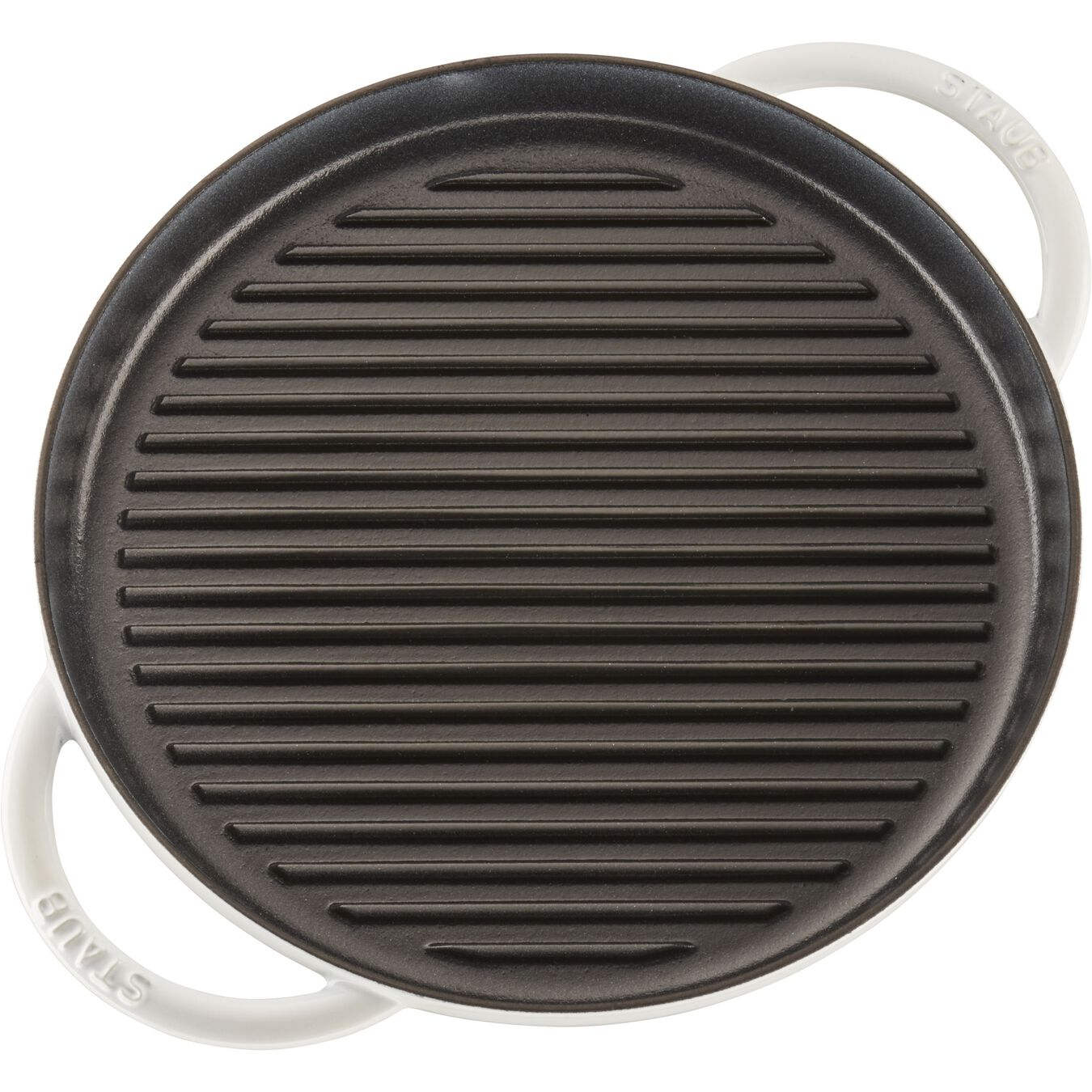Staub Cast Iron Round Grill Pan With Glass Lid White Official Zwilling Shop