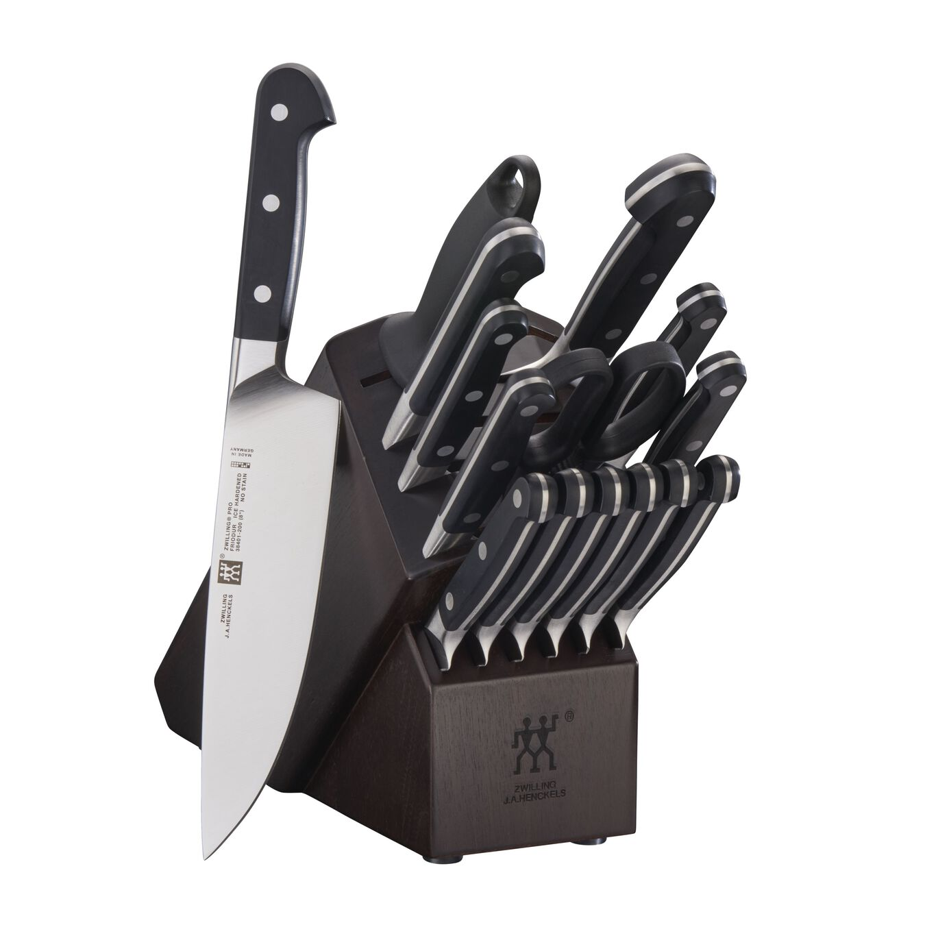 16-pc, Knife block set, walnut,,large 1