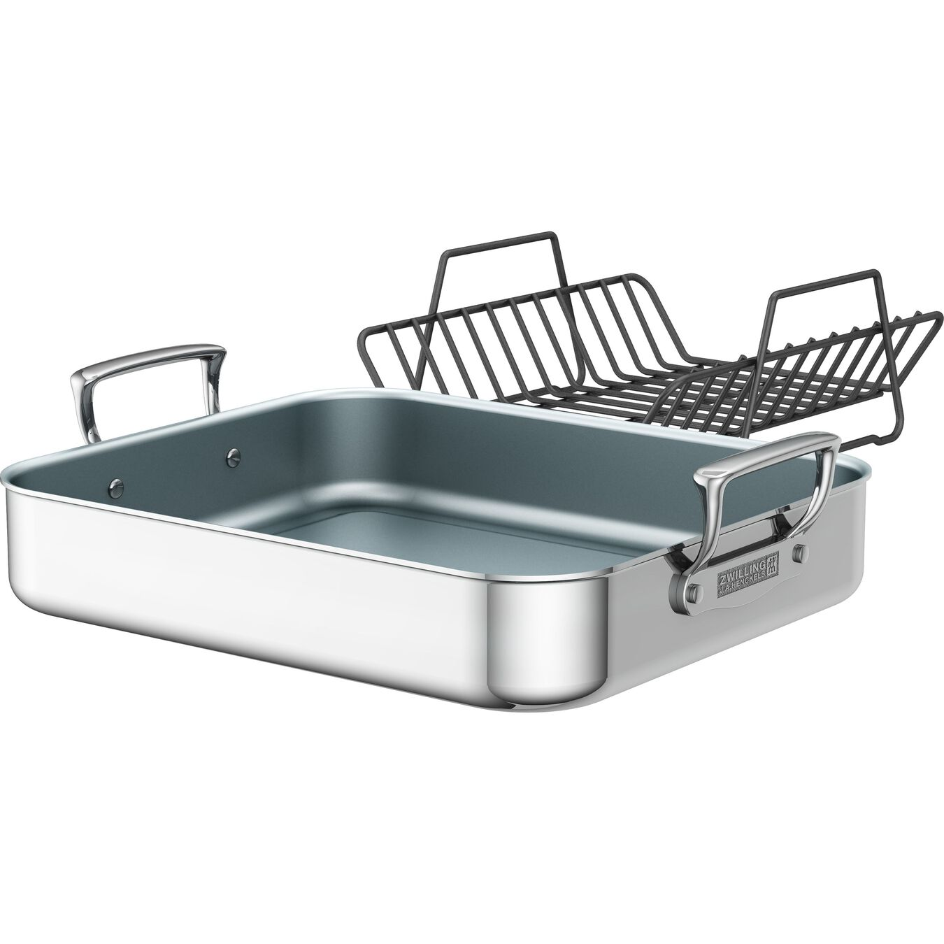 Polished Stainless Steel Ceramic Nonstick Roasting Pan,,large 1