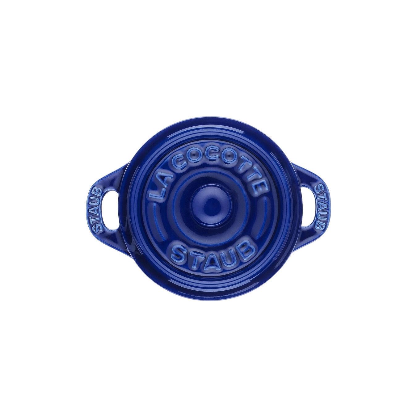 Mini Cocotte 10 cm, rund, Dunkelblau, Keramik,,large 3