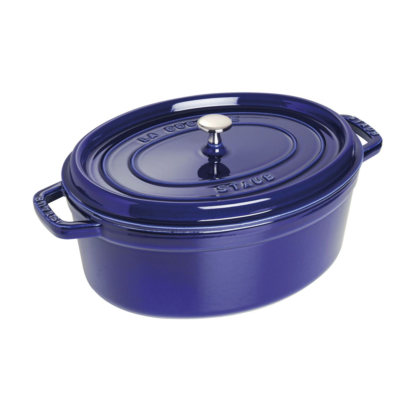 3,25 l Cast iron oval Faitout, Dark-Blue,,large 1