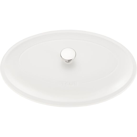 """14"""" Oval Covered Baking Dish, Matte White, , large 4"""