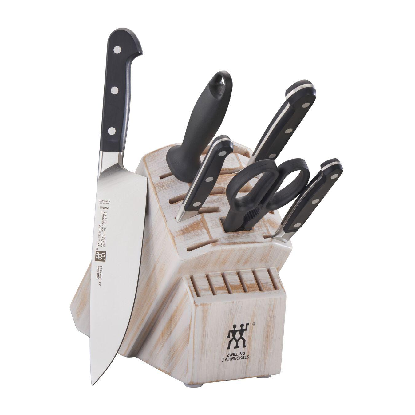 7-pc, Knife block set, rustic white,,large 1