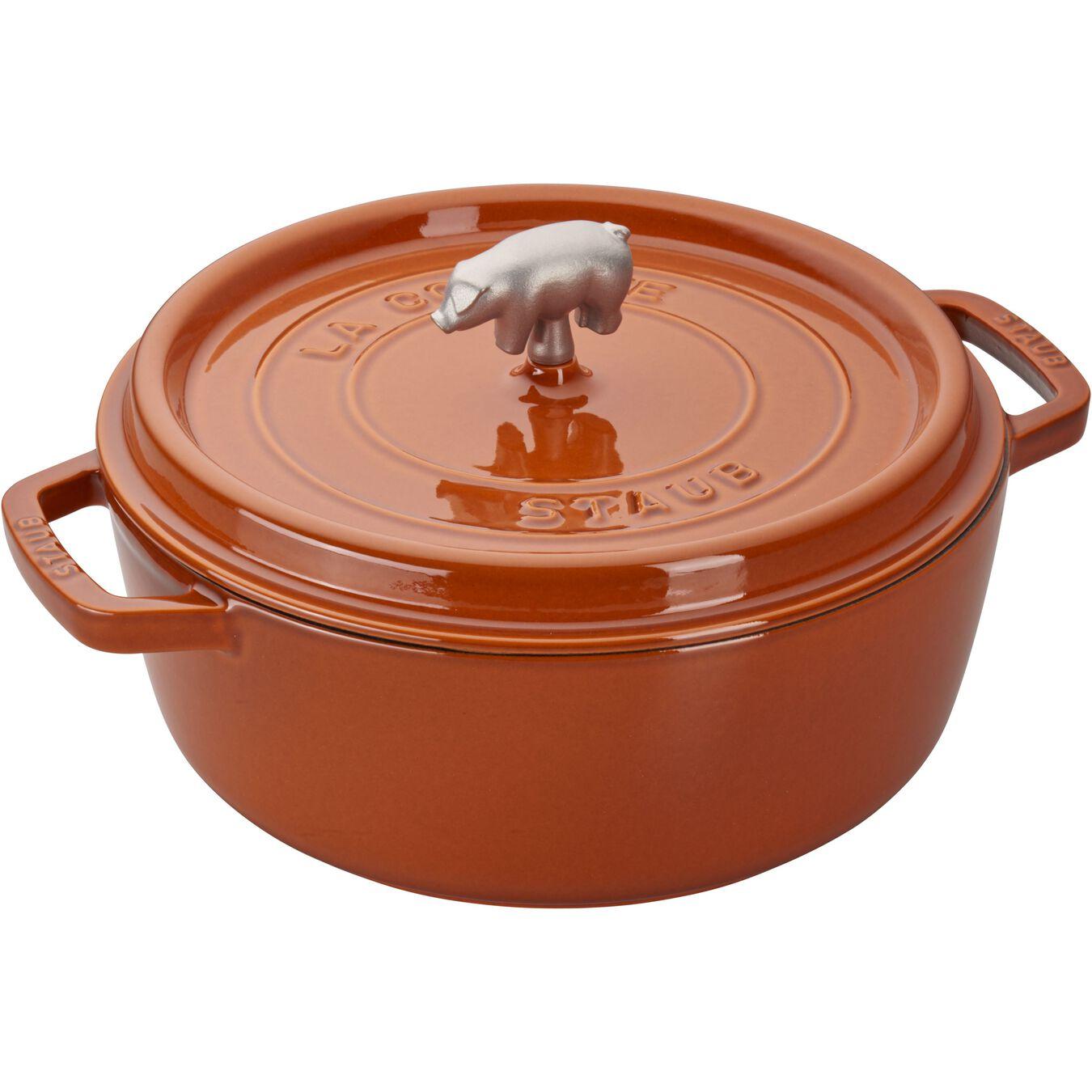 6-qt Cochon Shallow Wide Round Cocotte - Burnt Orange,,large 1