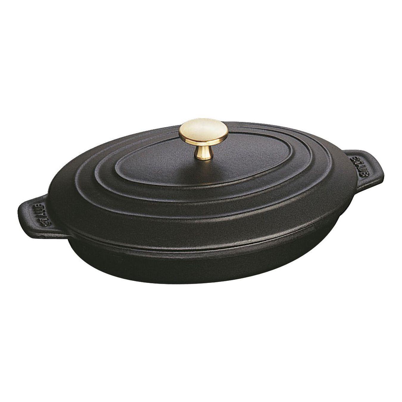 Ovenschotel met deksel 23 cm, Ovaal, Zwart,,large 2