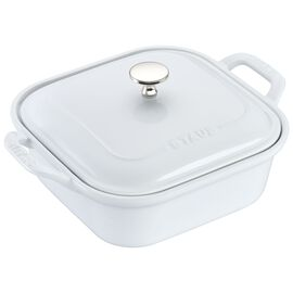 "Staub Ceramics, 9"" x 9"" Square Covered Baking Dish, White"