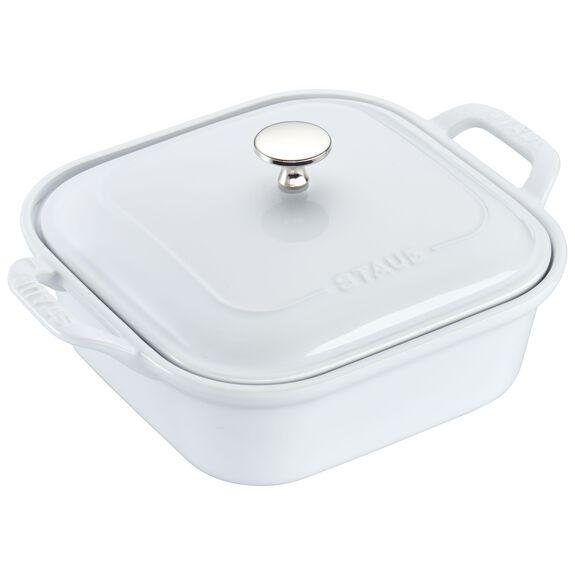 "9"" x 9"" Square Covered Baking Dish, White, , large"