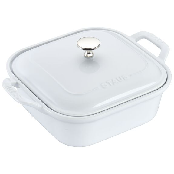 "9"" x 9"" Square Covered Baking Dish, White, , large"