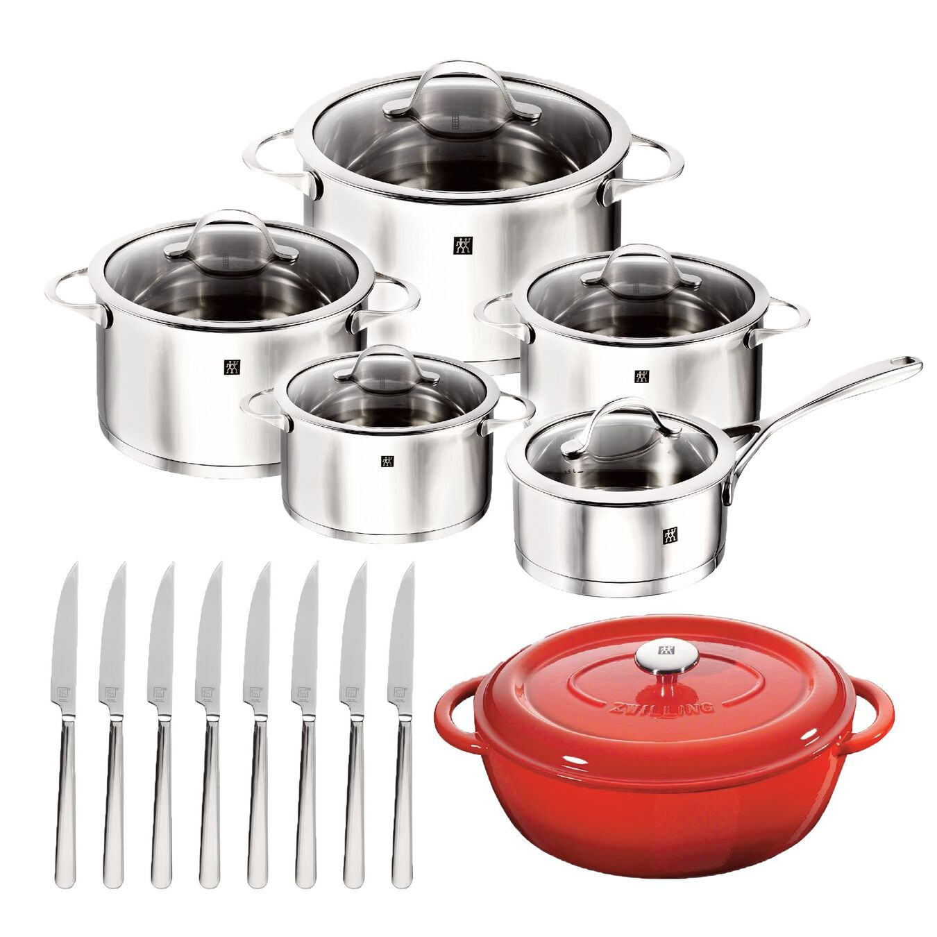 10 PIECE COOKWARE SET WITH BONUS CAST IRON FRENCH OVEN AND 8-PC STEAK KNIVES,,large 1