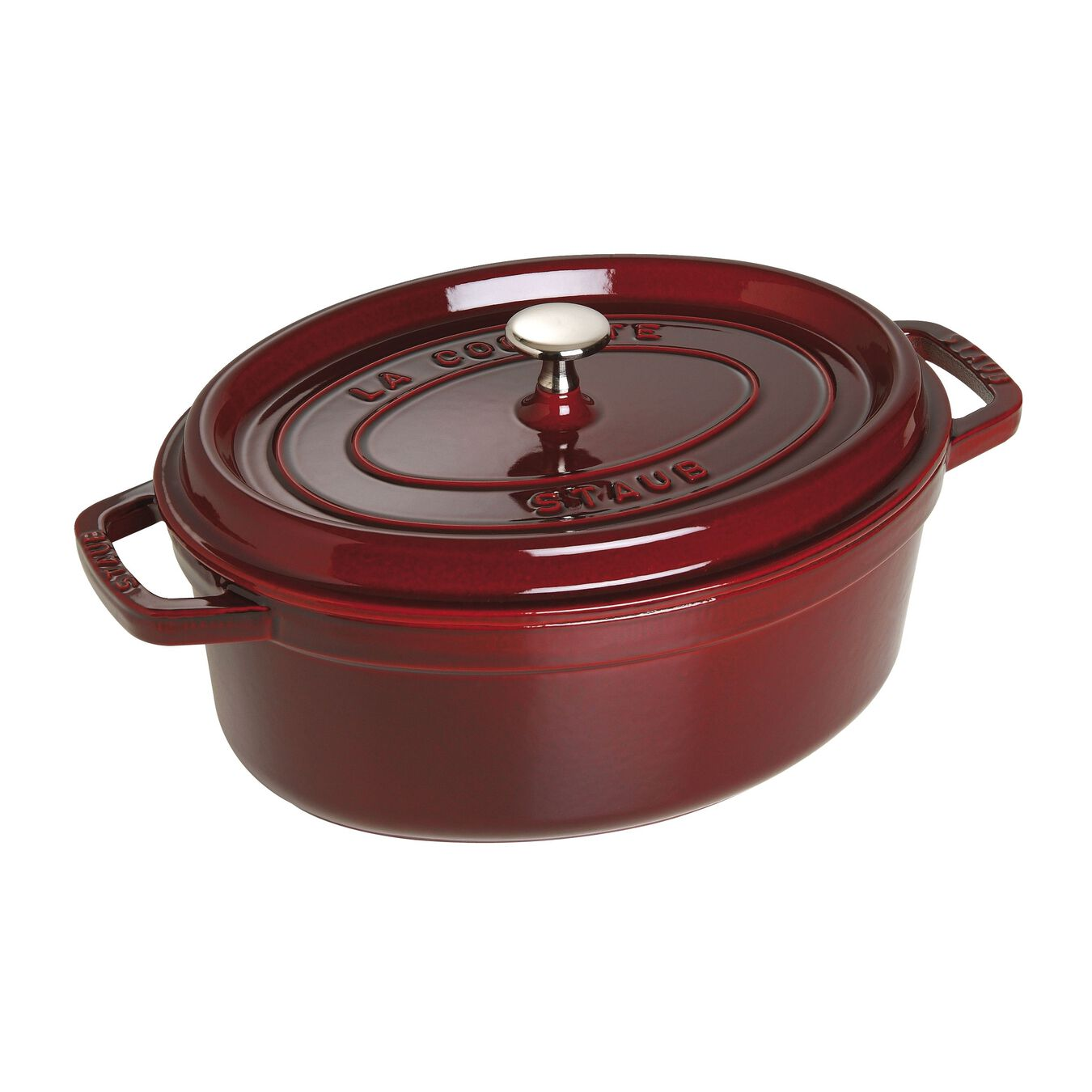 4,25 l Cast iron oval Faitout, Grenadine-Red,,large 2