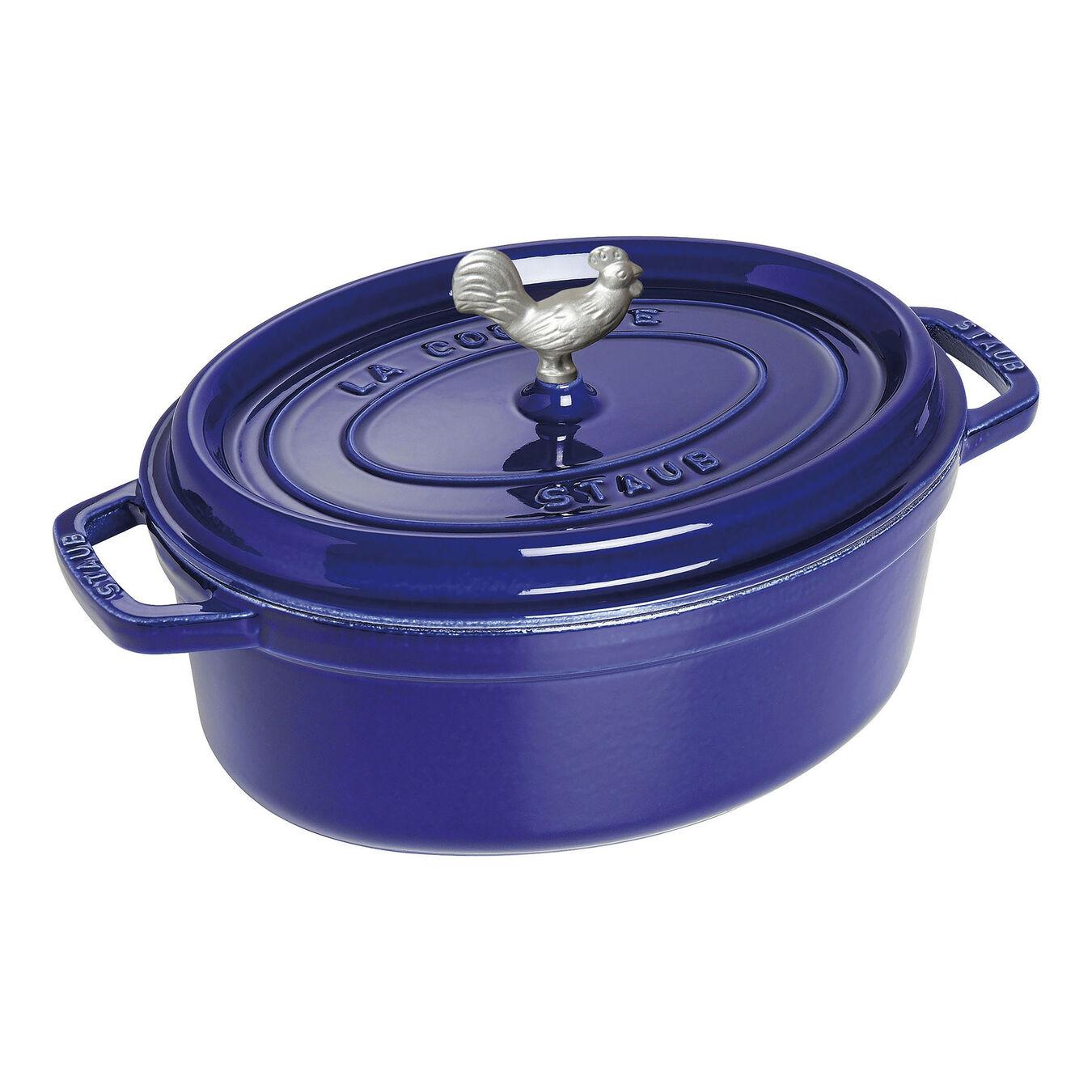 5.5 qt, oval, Coq au Vin Cocotte, dark blue,,large 1