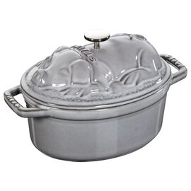 Staub Cast iron, 1-qt-/-17-cm oval Cocotte Pig, Graphite-Grey