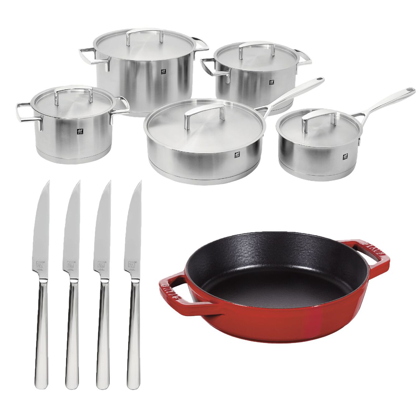 10 piece cookware set with bonus cast iron frypan and 4 piece steak knives,,large 1
