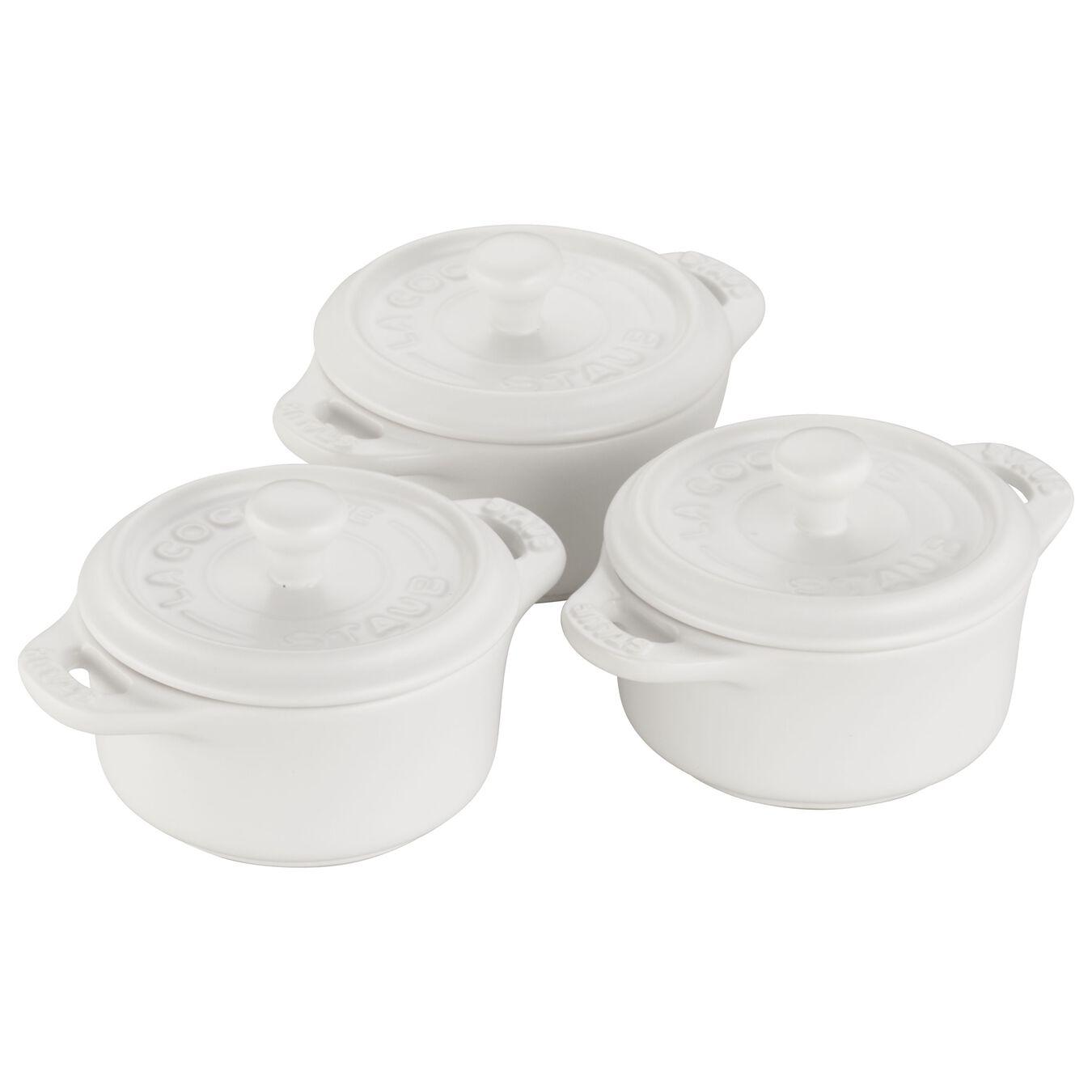 3-pc, Cocotte set, matte white,,large 1
