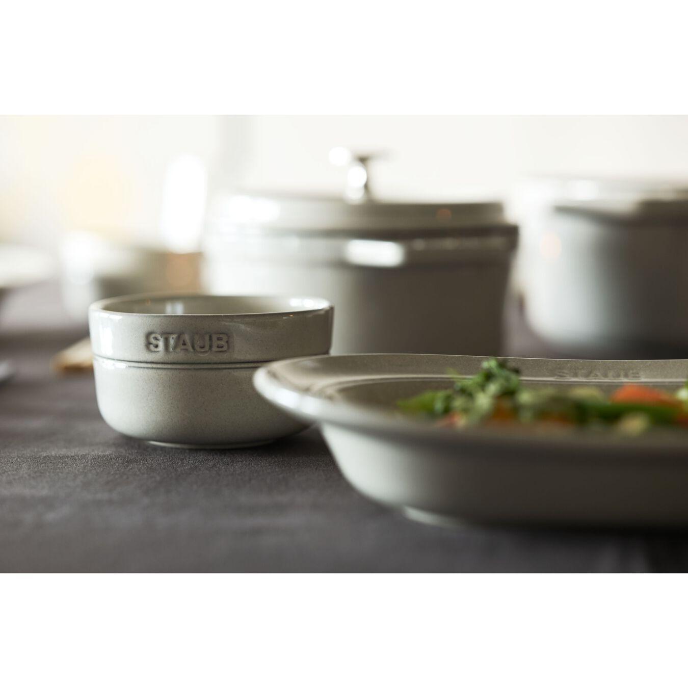 25 cm Ceramic oval Assiette, White Truffle,,large 3