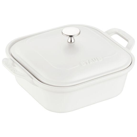 Ceramic Square Covered Baking Dish, Matte White,,large