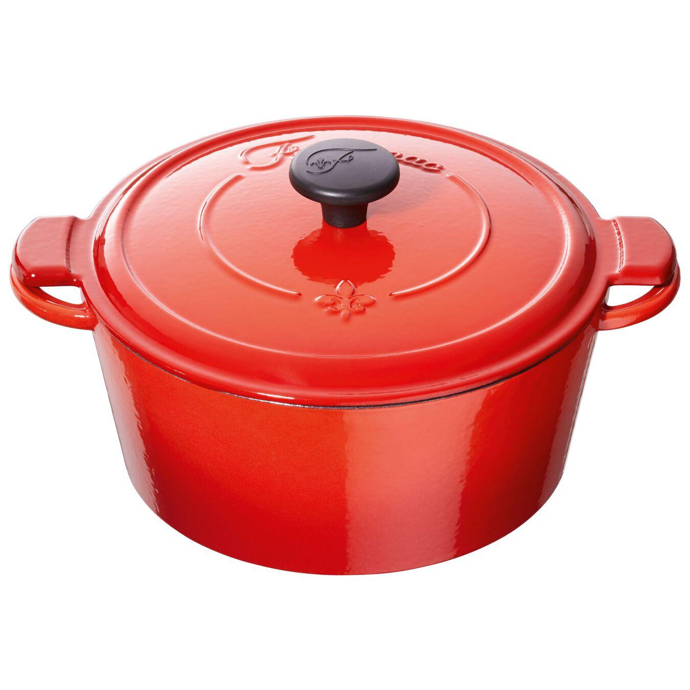 Caçarola 20 cm, redondo, Vermelho chama, Ferro fundido,,large 2
