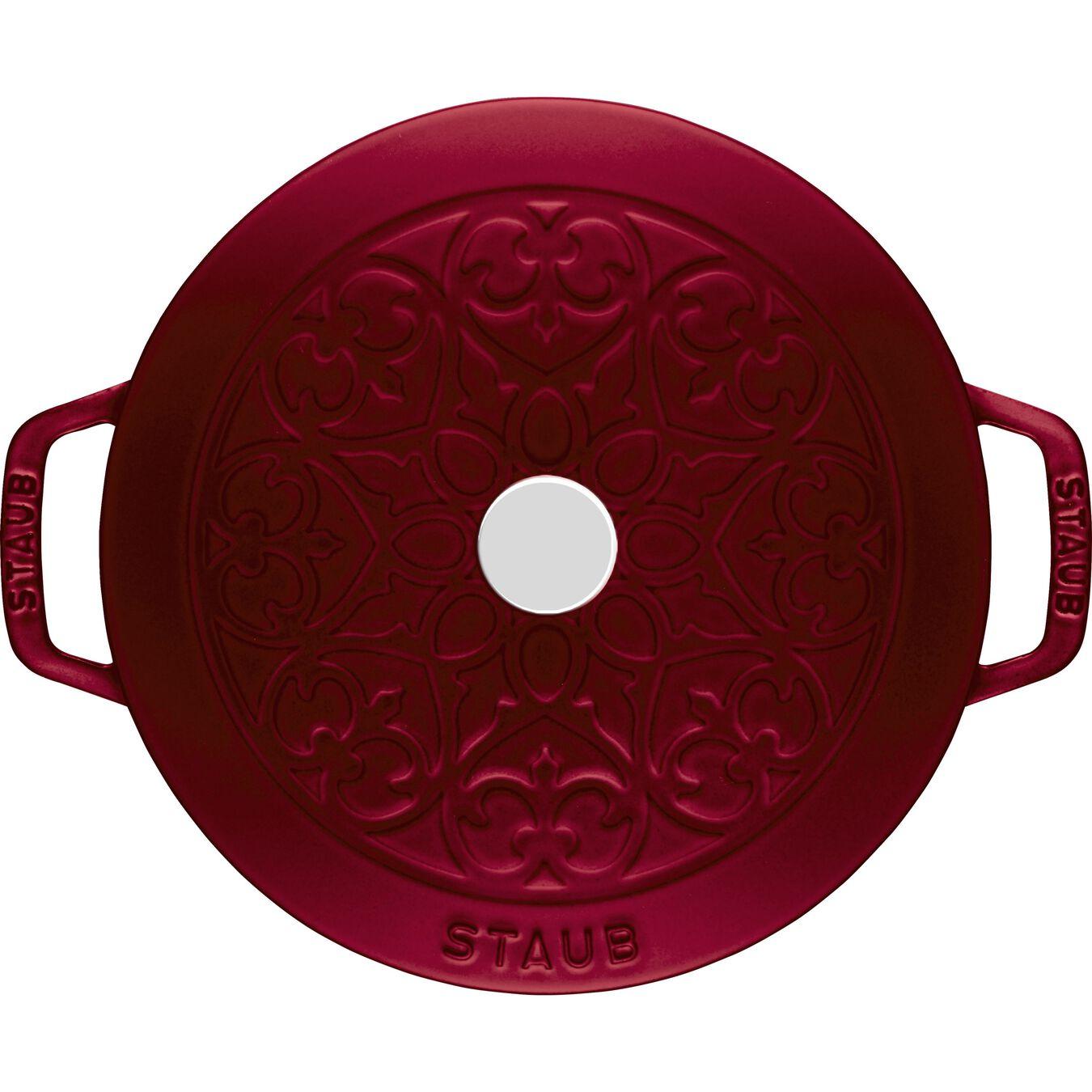 Pot set, lily decal, 2 Piece | round | cast iron | Bordeaux,,large 3
