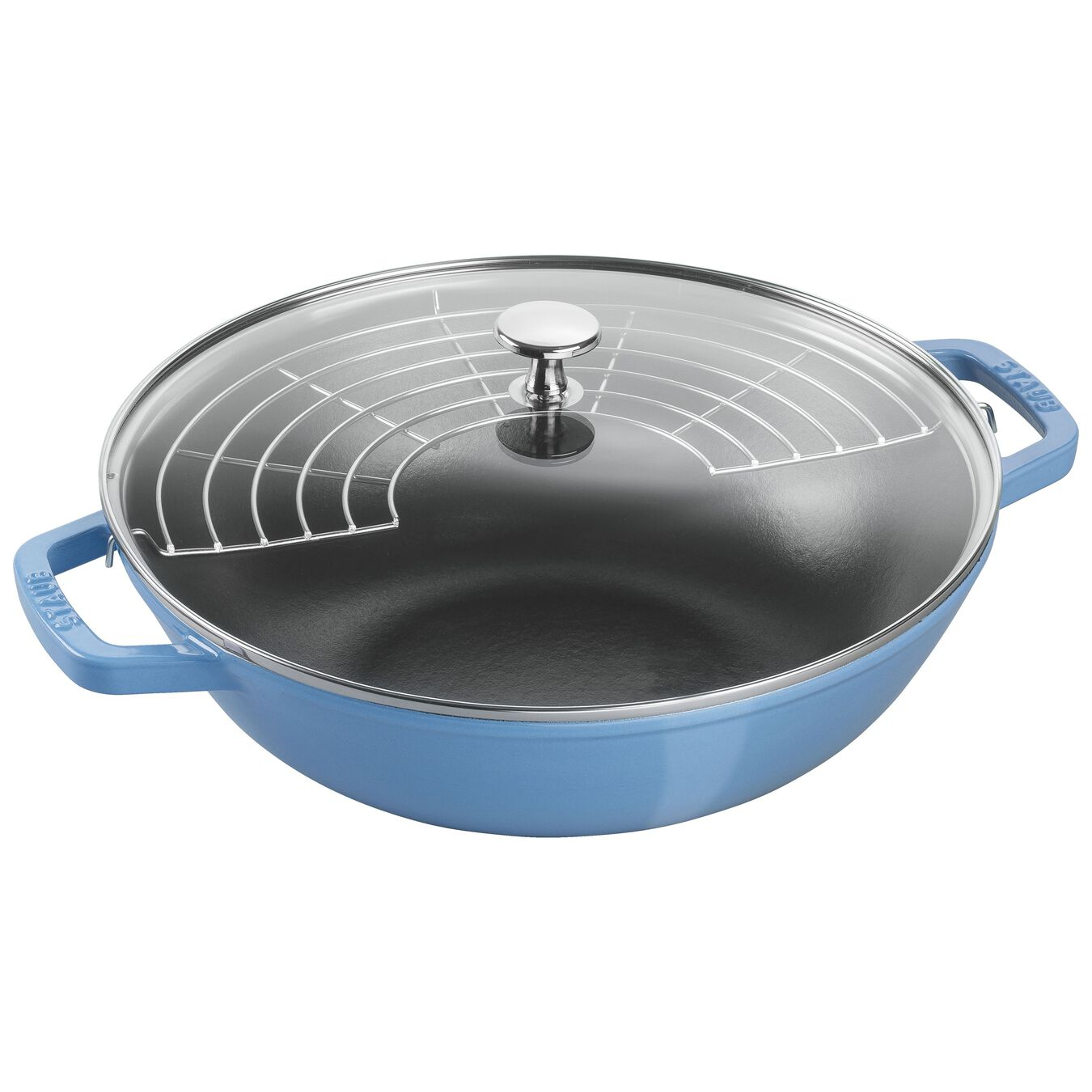 30 cm / 12 inch Cast iron Wok, ice-blue,,large 1