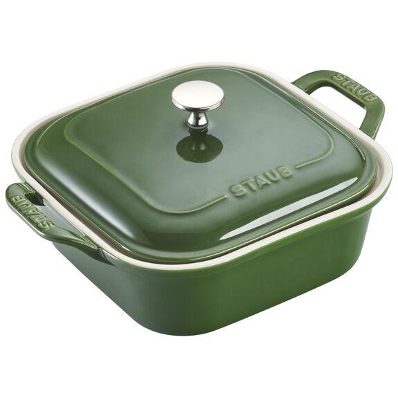 "9"" x 9"" Square Covered Baking Dish, Basil, , large"