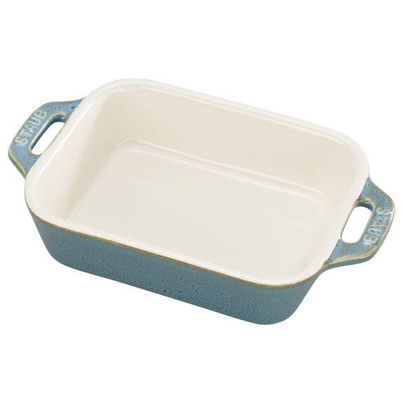 5.5x4-inch Rectangular Baking Dish, Rustic Turquoise, , large