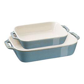 Staub Ceramique, Ovenware set, 2 Piece | rectangular | ancient-turquoise