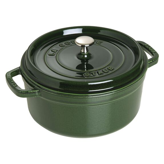 5.55-qt-/-26-cm round Cocotte, Basil-Green - Visual Imperfections,,large