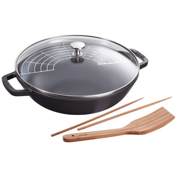 12-inch Enamel Wok with glass lid, Black,,large 2