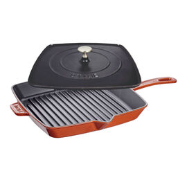 Staub Cast Iron, 12-inch Square Grill Pan & Press Set -  Burnt Orange