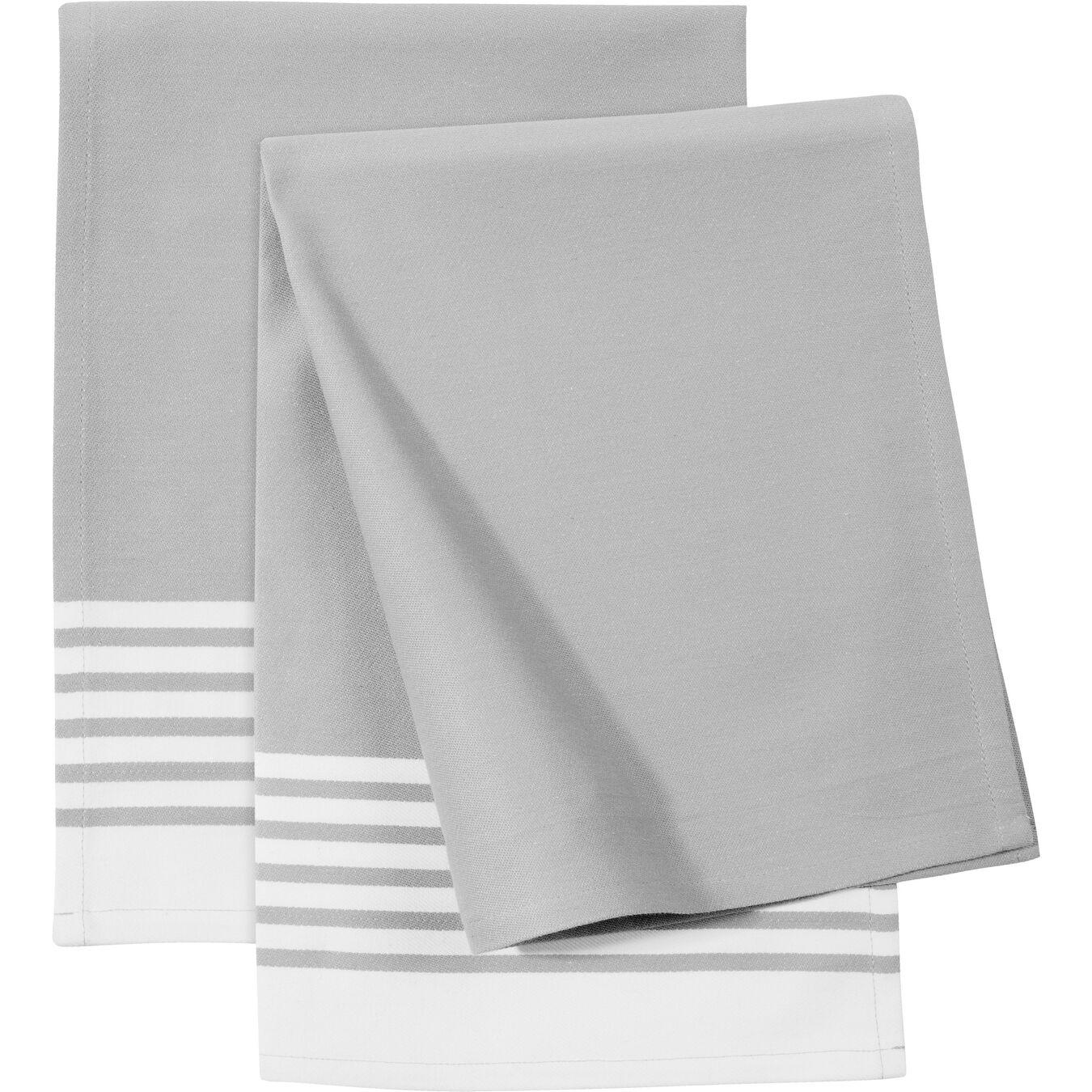 Küchenhandtuch, gestreift, grau, 2-tlg., 2-tlg   Grau,,large 1