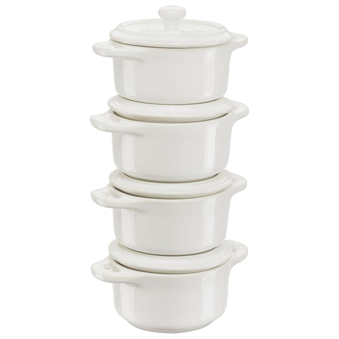 Ensemble de cocottes 4-pcs, Rond(e), Blanc ivoire, Céramique,,large 1