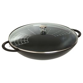 Staub LA COCOTTE, Wok Tava Cam Kapaklı | Döküm Demir | Siyah | 37 cm