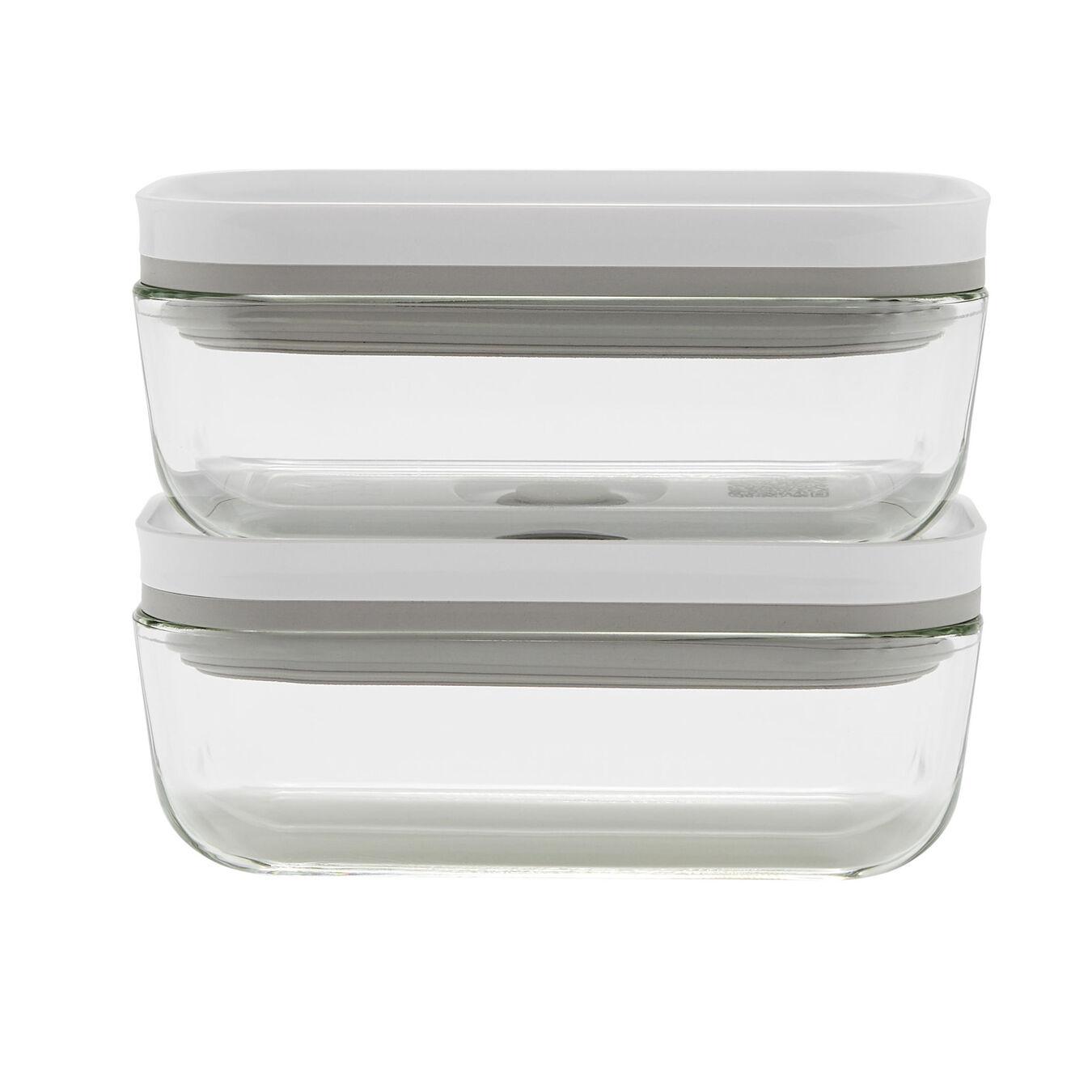 2 Piece Vacuum box set, glass, grey,,large 1
