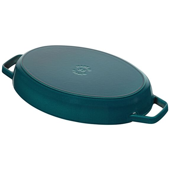 2.75-qt Oval Gratin with Fish Lid - Visual Imperfections - La Mer,,large 3
