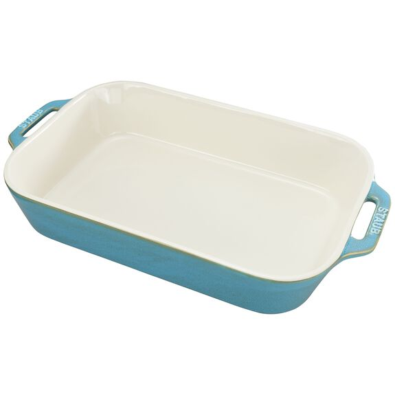 Ceramic Special shape bakeware, Rustic Turquoise,,large