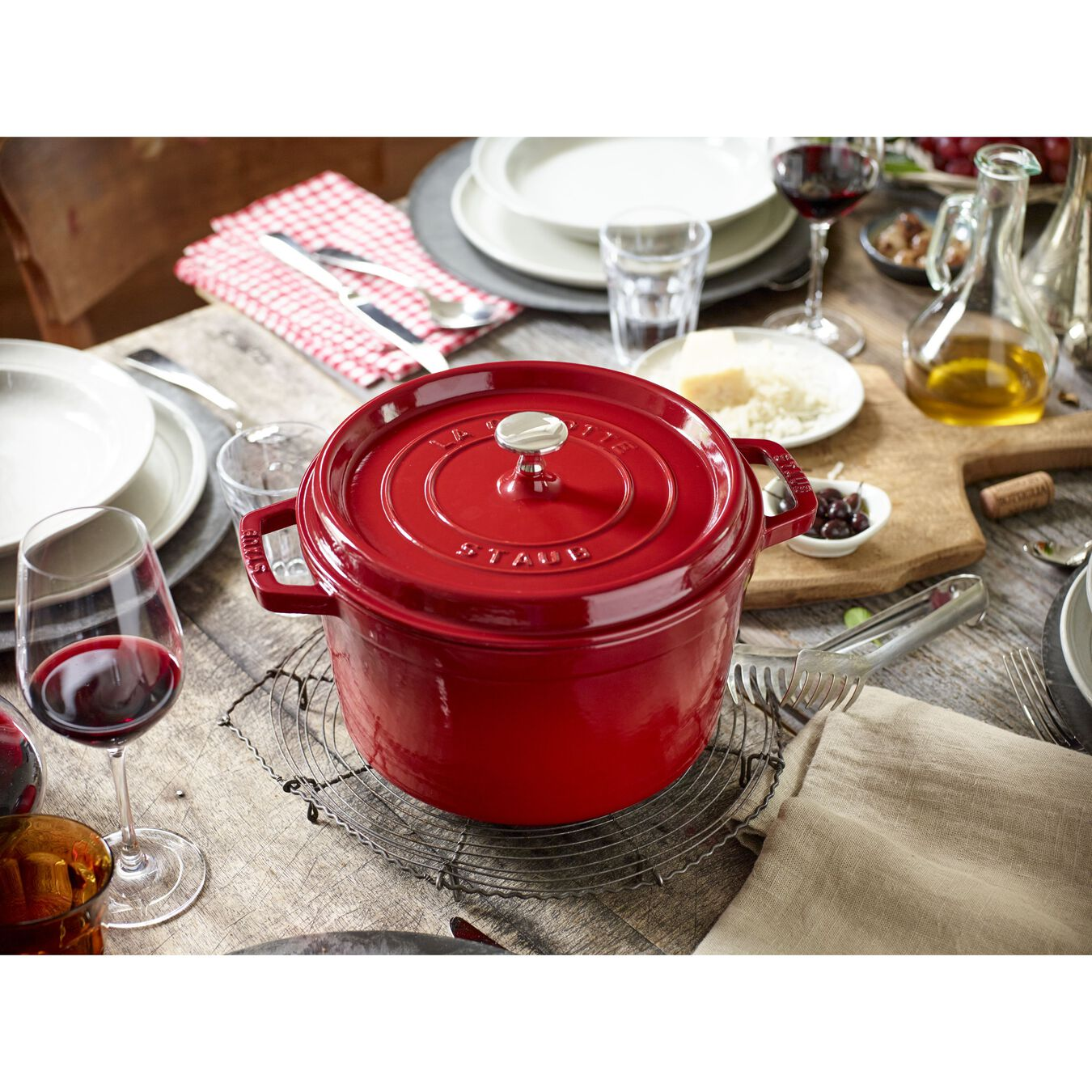 5 qt, round, Cocotte, cherry - Visual Imperfections,,large 10