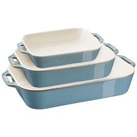 Staub Ceramic - Rectangular Baking Dishes/ Gratins, 3-pc, Rectangular Baking Dish Set, rustic turquoise