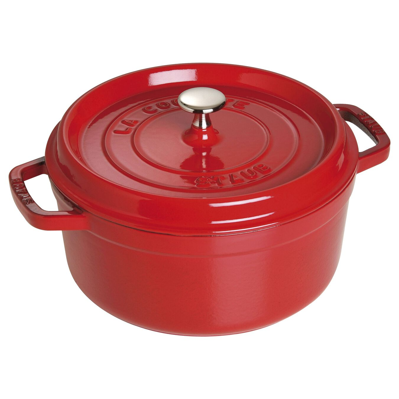 4-qt round cocotte - cherry - visual imperfections,,large 1