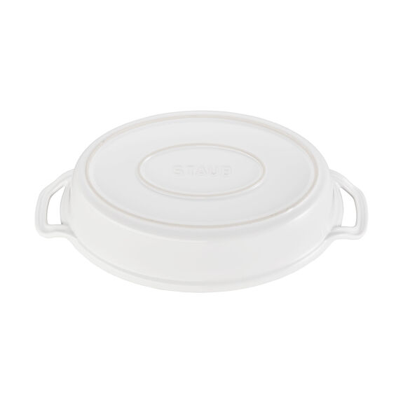 14-inch Oval Covered Baking Dish - White,,large 3