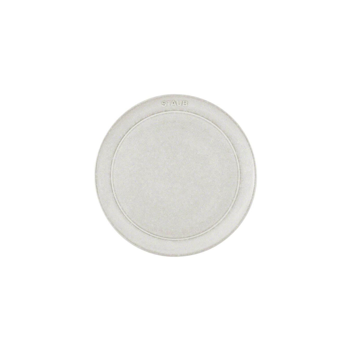 20 cm Ceramic round Plate flat, White Truffle,,large 3