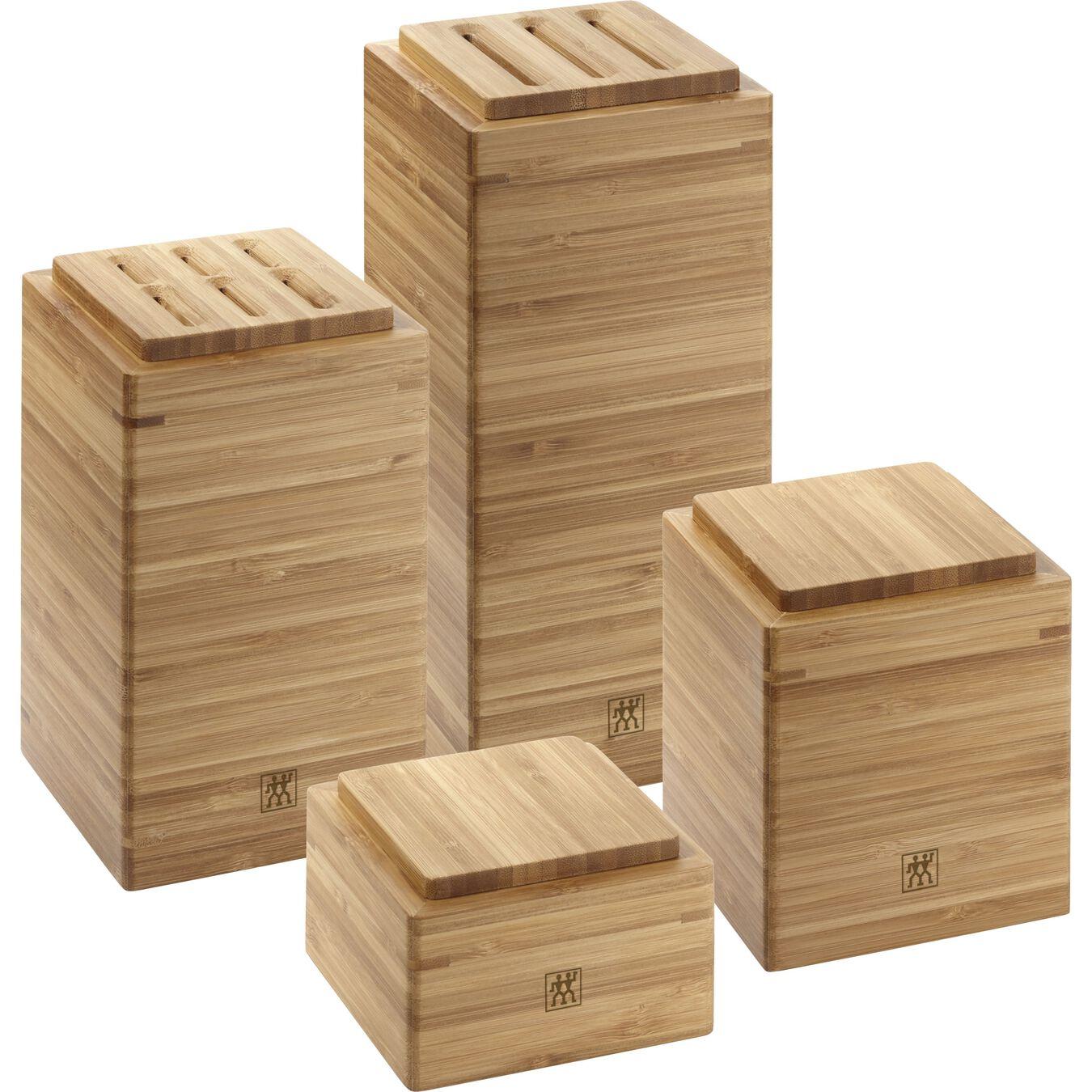 4-pc, bamboo, square, Storage jar set,,large 1