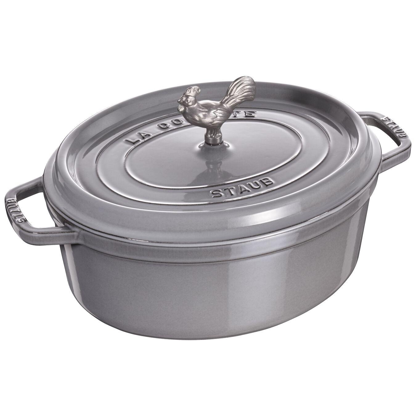 5.5 qt, oval, Coq au Vin Cocotte, graphite grey,,large 1