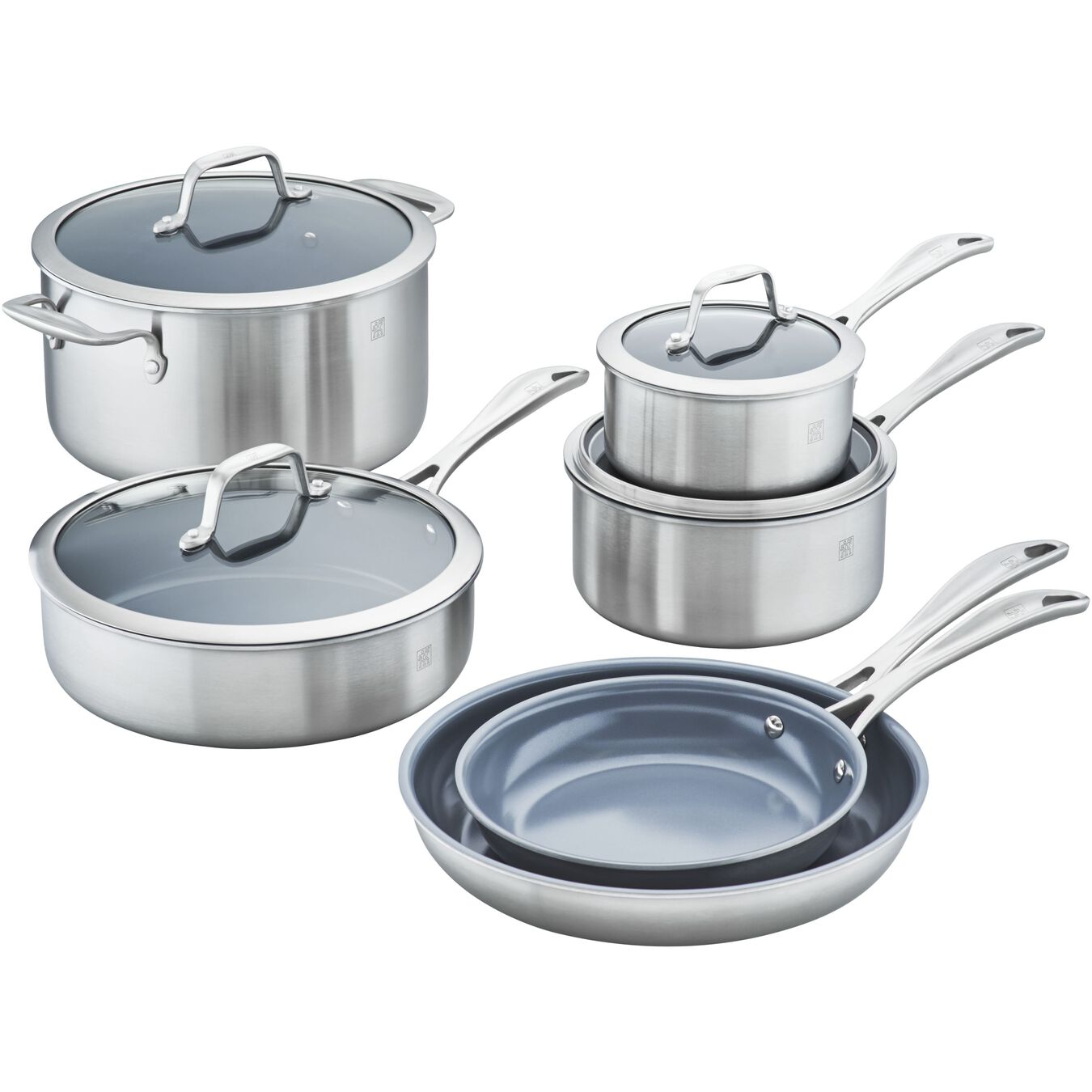 3-ply 10-pc Stainless Steel Ceramic Nonstick Cookware Set,,large 1