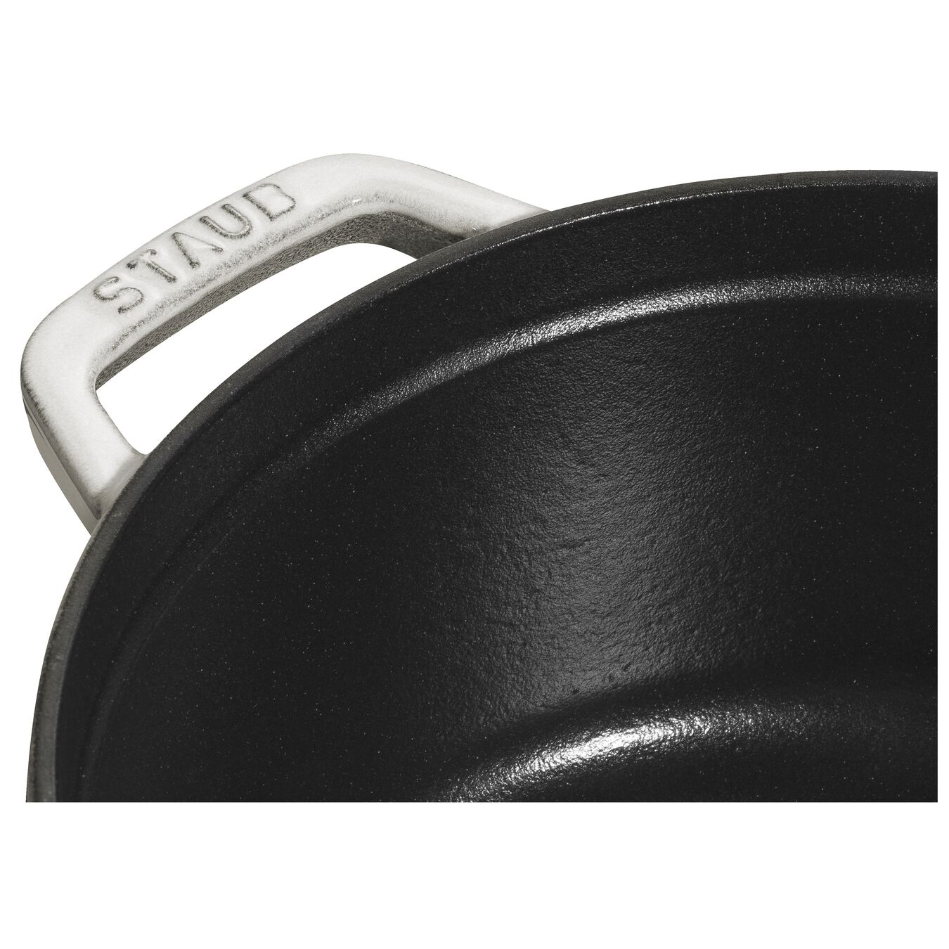Caçarola 20 cm, redondo, Branco trufado, Ferro fundido,,large 4