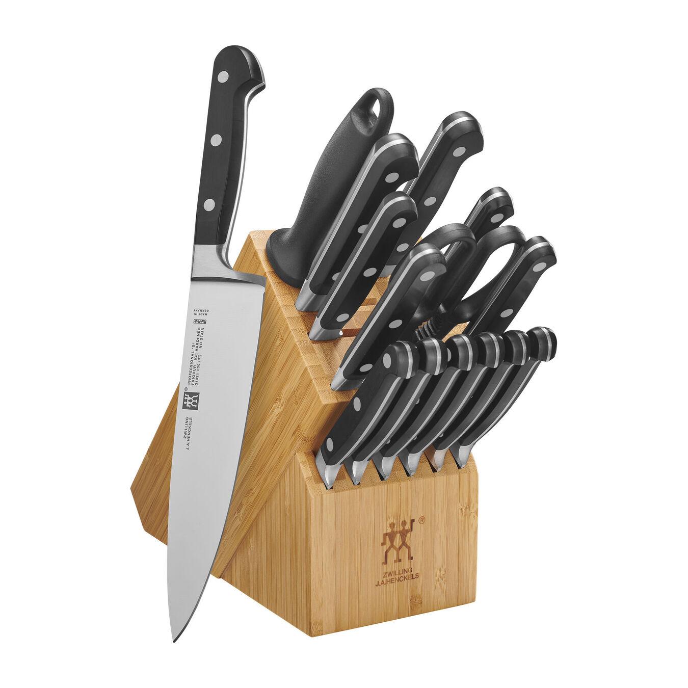 16-pc, Knife block set, Bamboo,,large 1