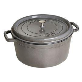 Staub Cast Iron, 9-qt Round Cocotte - Graphite Grey