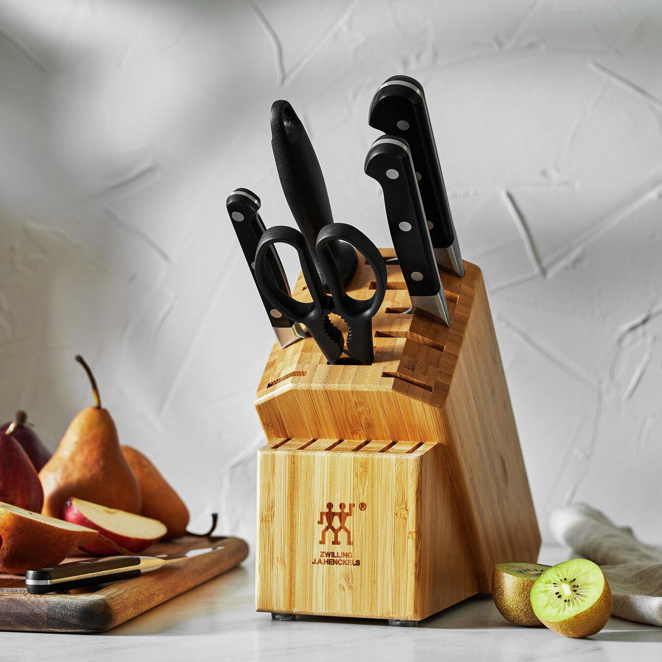 7-pc, Knife block set, bamboo,,large 7