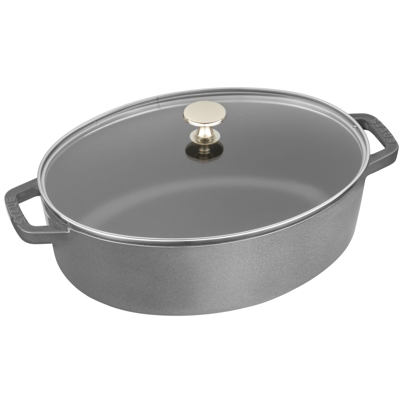 4.25-qt Shallow Wide Oval Cocotte with Glass Lid - Graphite Grey,,large 1